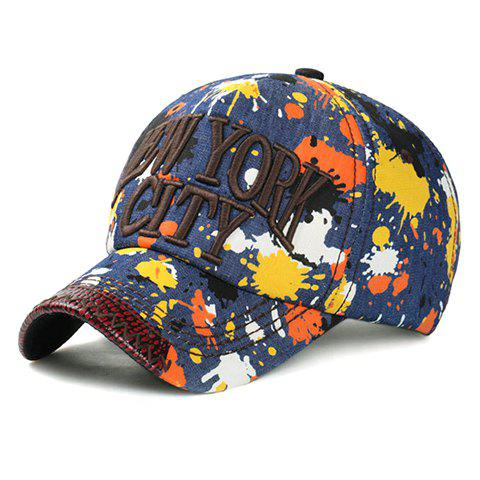 Fashion Letters Embroidery Multicolor Splash-Ink Pattern Jeans Baseball Cap - COFFEE
