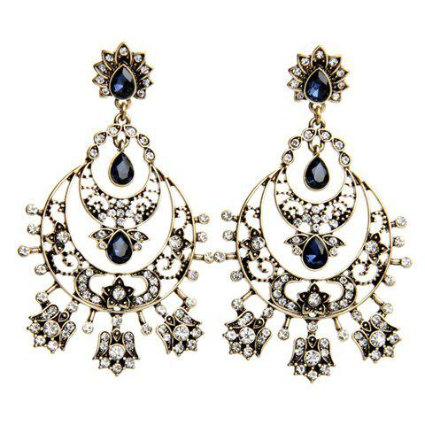 Pair of Chic Rhinestone Moon Hollow Out Earrings For Women - GOLDEN