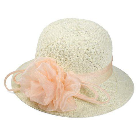 Chic Handmade Yarn Flower Women's Knitted Rhombus Bucket Hat - BEIGE