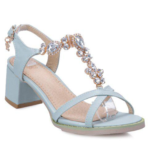Trendy Solid Colour and Rhinestones Design Women's Sandals - LIGHT BLUE 35