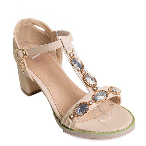 Sweet Rhinestones and T-Strap Design Women's Sandals - APRICOT 36