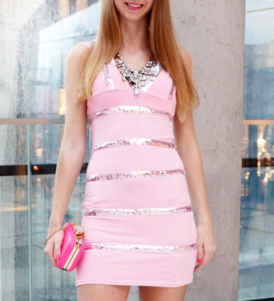 Sexy Hollow Plunging Neck Sleeveless Dress For Women - PINK M