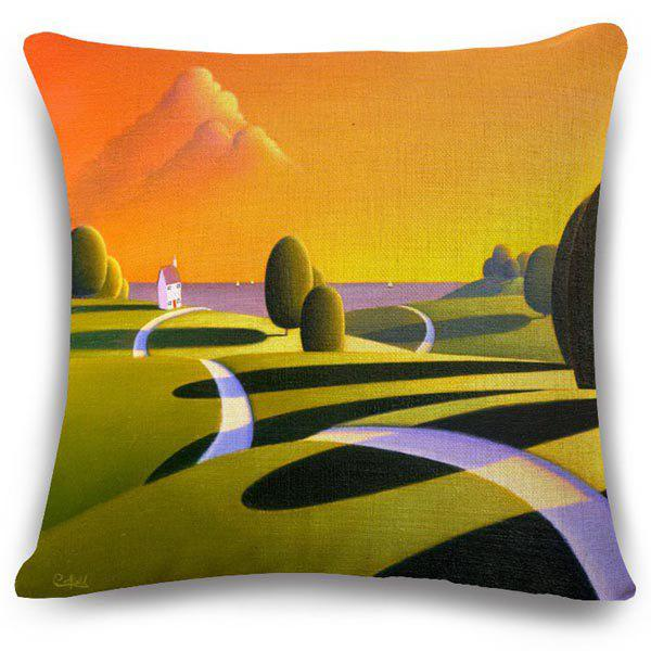 Chic Sunset Oil Painting Pattern Square Shape Flax Pillowcase (Without Pillow Inner)