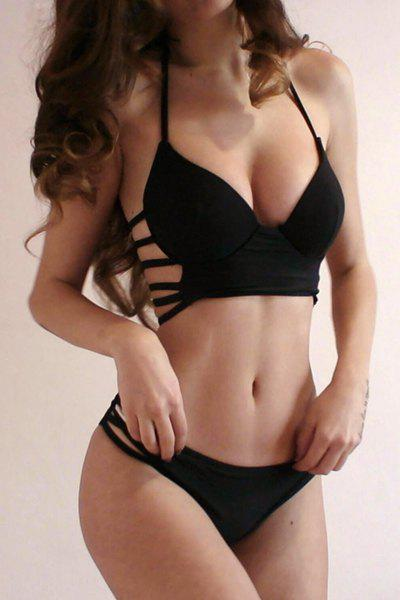 Halter Strappy Push Up Bikini Set - BLACK L