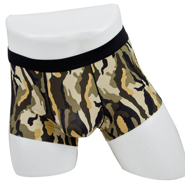Elastic Waist Camouflage Print Comfortable Men's Boxer Brief - COLORMIX XL