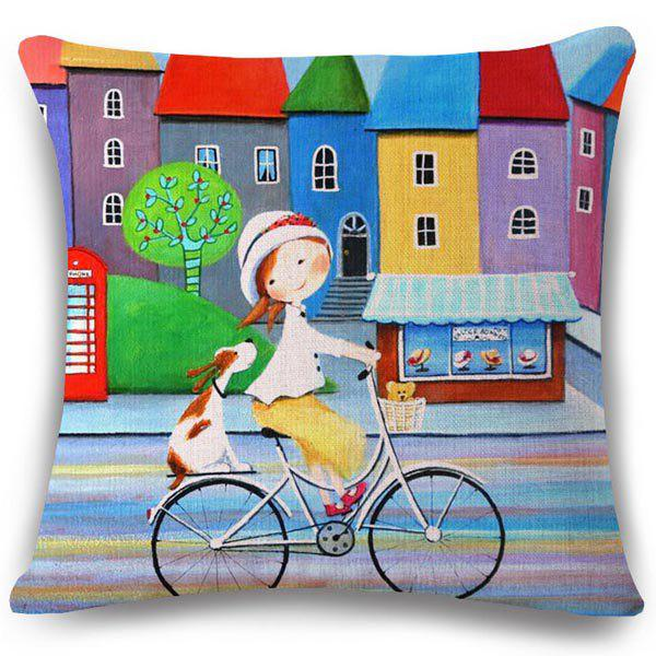 Chic Colorful House Oil Painting Pattern Square Shape Flax Pillowcase (Without Pillow Inner) - COLORMIX