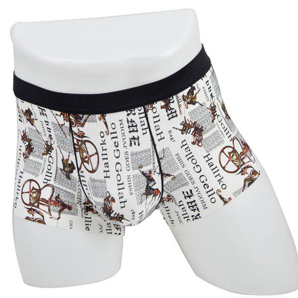 Elastic Waist Carriage and Letters Print Comfortable Men's Boxer Brief