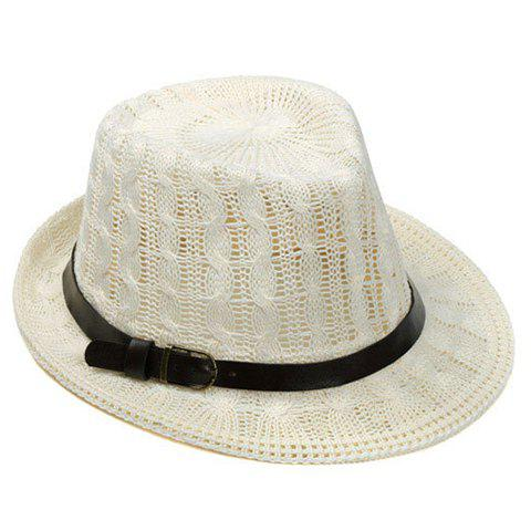Chic Slender Belt Embellished Crocheting Hemp Flower Jazz Hat For Women