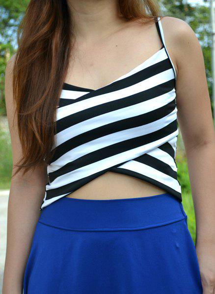 Sexy Spaghetti Strap Sleeveless Low Cut Striped Women's Crop Top - WHITE/BLACK ONE SIZE