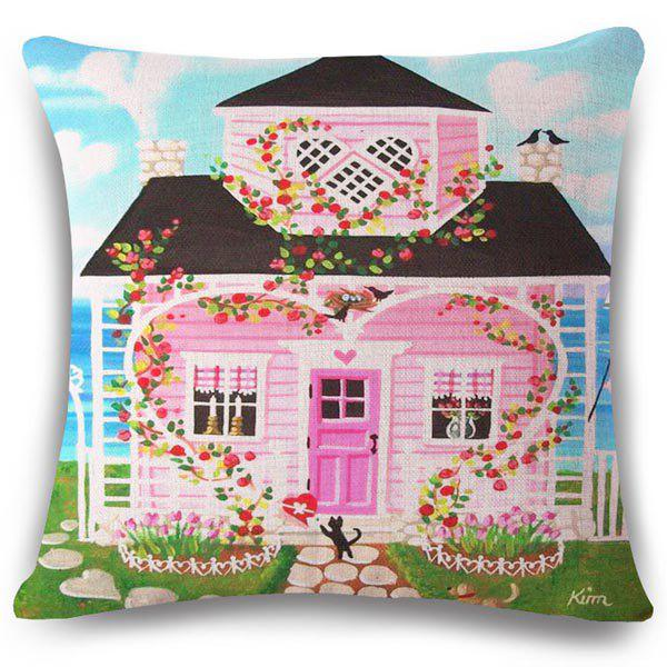 Chic Pink House Oil Painting Pattern Square Shape Flax Pillowcase (Without Pillow Inner) - COLORMIX