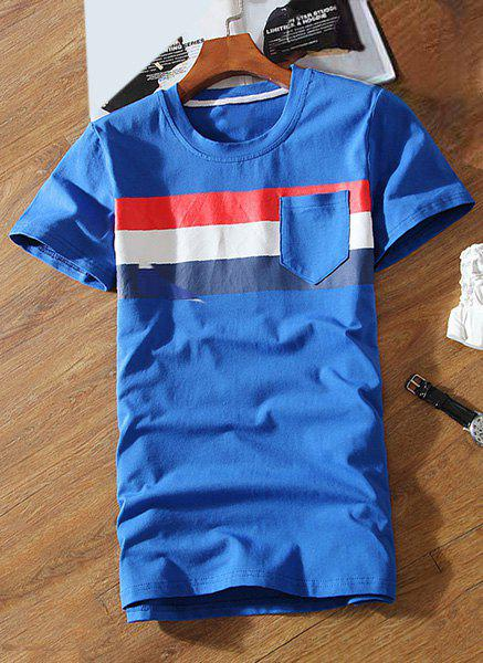 One Patch Pocket Stripes Pattern Round Neck Short Sleeves Men's T-Shirt - BLUE 2XL