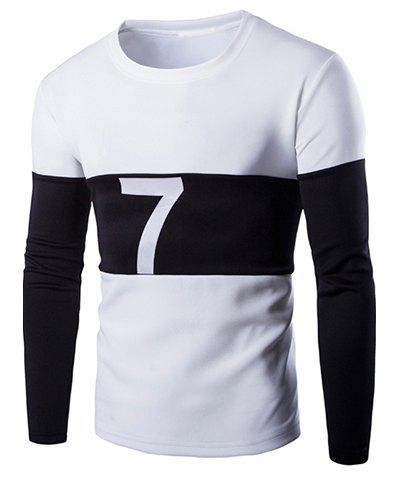 Sports Round Neck Color Block Splicing Number Pattern Long Sleeve Men's T-Shirt - WHITE XL