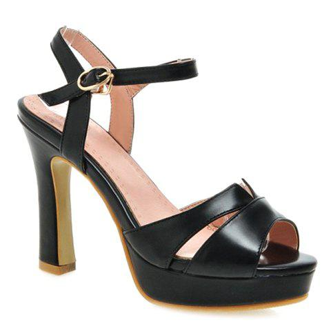 Stylish Chunky Heel and Solid Colour Design Women's Sandals - BLACK 35