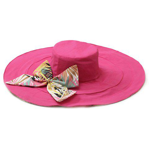 Chic Big Bowknot Leaf Pattern Bottom Women's Reversible Sun Hat - ROSE