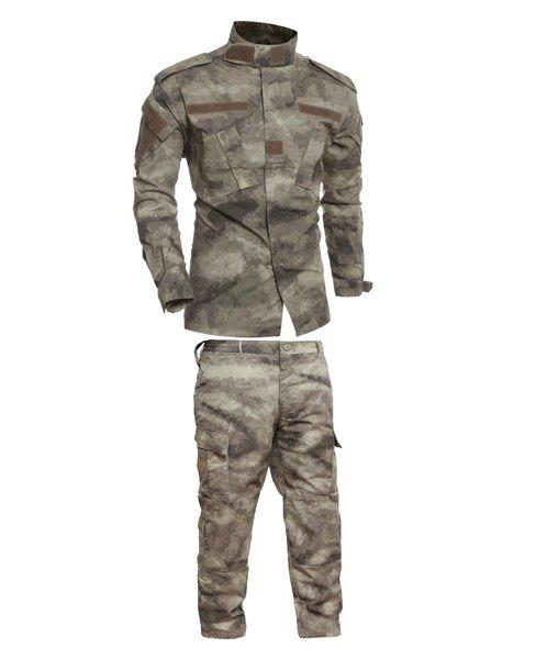 Pockets Men's Stand Collar Camo Training Suits (Jacket+Pants) - CAMOUFLAGE 2XL
