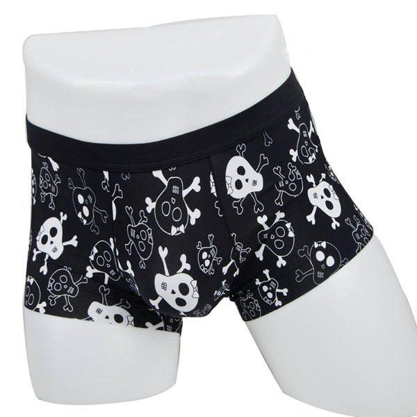 Elastic Waist Skulls Print Comfortable Boxer Brief For Men