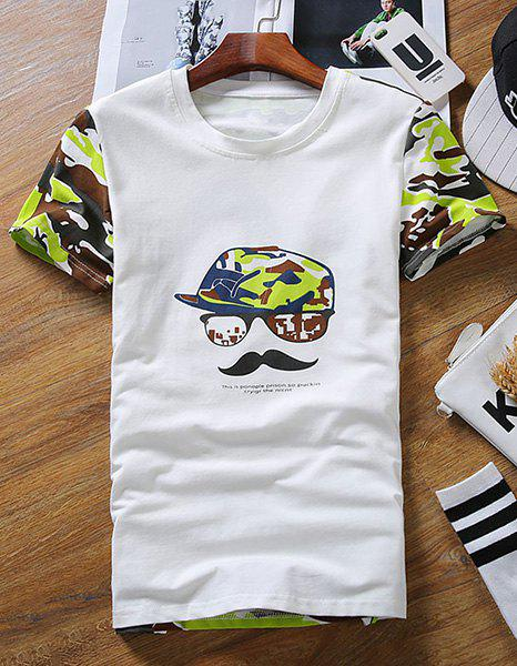 Slimming Round Neck Cap and Beard Print Short Sleeves Men's Camo T-Shirt