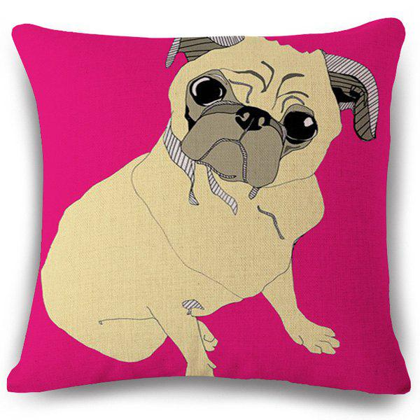 Fashion Cartoon Puppy Pattern Square Shape Flax Pillowcase (Without Pillow Inner) - COLORMIX