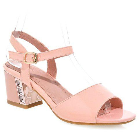 Trendy Solid Colour and Patent Leather Design Women's Sandals - PINK 39