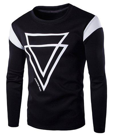 Sports Round Neck Color Block Inverted Triangles Pattern Long Sleeve Men's T-Shirt - BLACK M