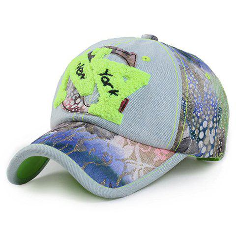 Fashion Letter Shape Toweling Embellished Jeans Baseball Cap - NEON GREEN