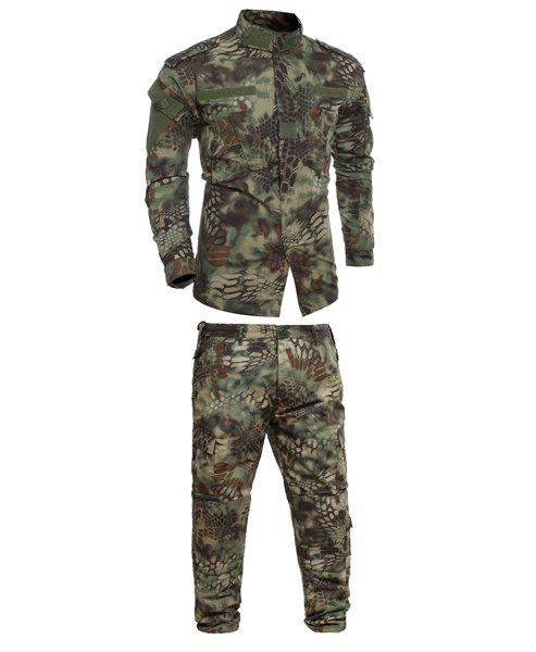 Pockets Men's Stand Collar Camo Printing Training Suits (Jacket+Pants) - CAMOUFLAGE L
