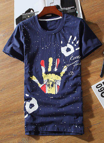 Casual Round Neck Colorful Palm Print Short Sleeves Men's Slimming T-Shirt - CADETBLUE M