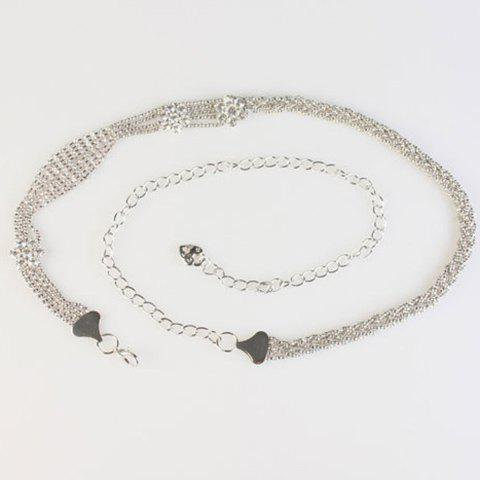 Fashionable Rhinestones Decorated Hollow Out Alloy Waist Chain For Women - SILVER
