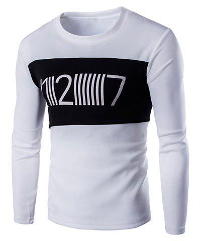 Round Neck Color Block Spliced Letters Print Long Sleeve Men's T-Shirt - WHITE XL