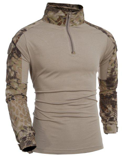 Half Zipper Outdoor Camo Long Sleeves T-Shirt For Men - CAMOUFLAGE XL