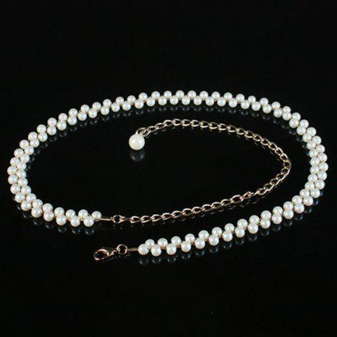 Fashionable Pearls Decorated Alloy Waist Chain For Women - WHITE