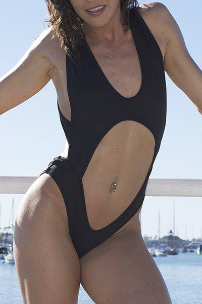 Sexy Backless Plunging Neckline One-Piece Swimsuit For Women - BLACK L