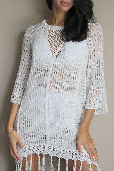 Sexy Scoop Neck Fringed Openwork Cover Up For Women - WHITE ONE SIZE(FIT SIZE XS TO M)