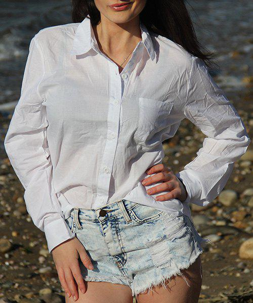 Casual Women's Solid Color Shirt Collar Long Sleeves Loose-Fitting Shirt - WHITE L