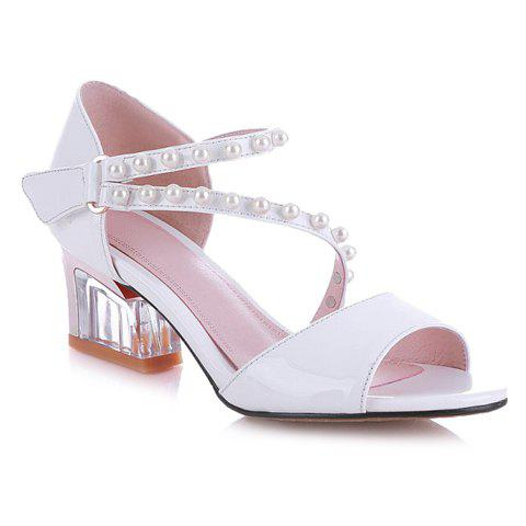 Leisure Patent Leather and Beading Design Women's Sandals - WHITE 39