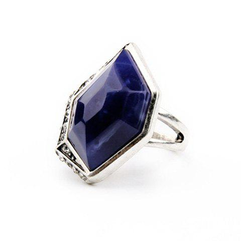 Vintage Alloy Faux Sapphire Geometric Ring For Women