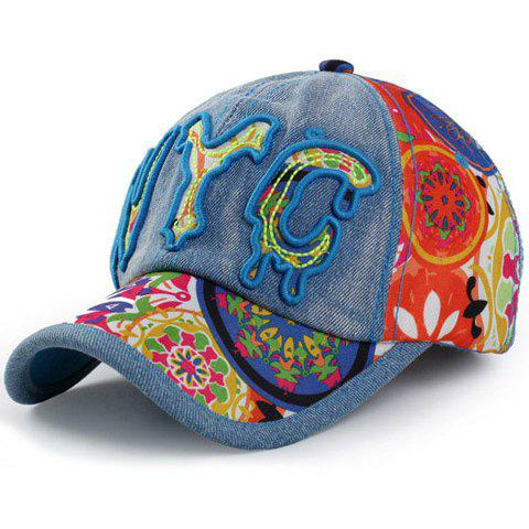 Chic Melting Letter Shape Embroidery Women's Jeans Baseball Cap - LAKE BLUE