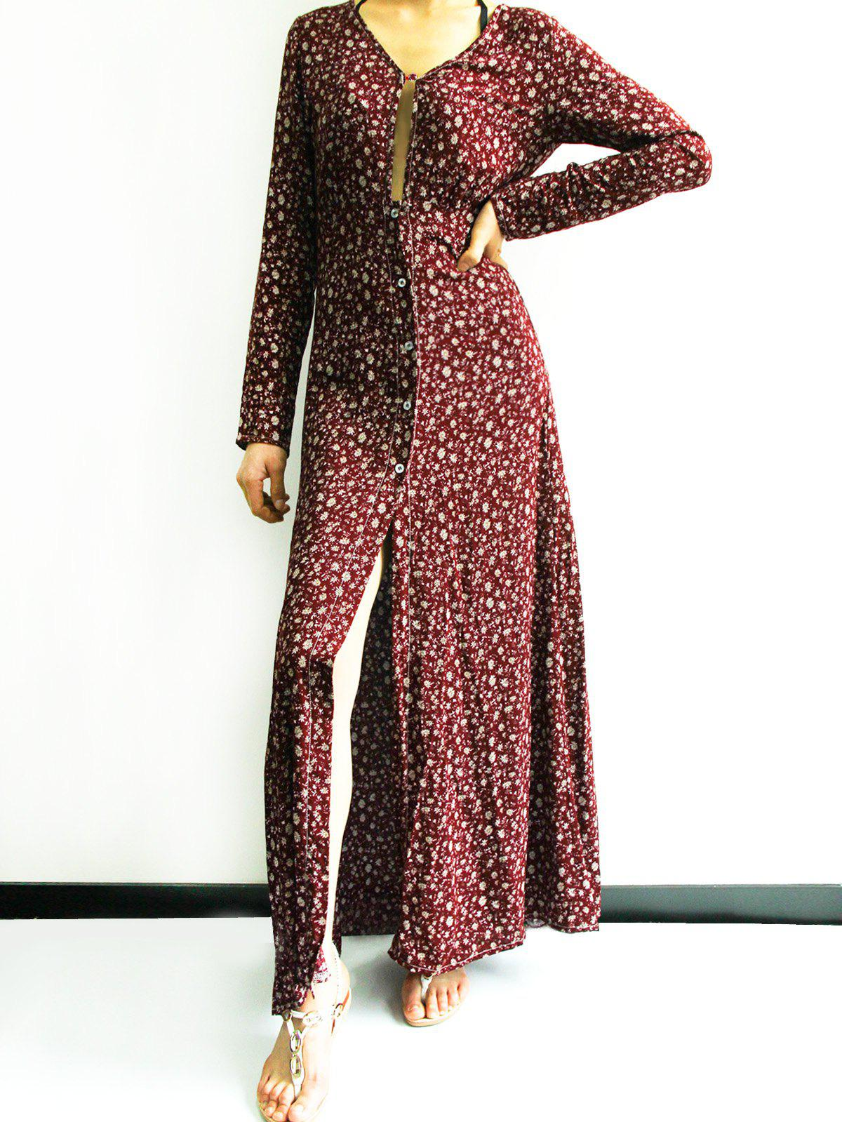 Retro Style Printed Plunging Neck Long Sleeve High Slit Maxi Dress For Women