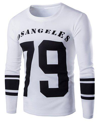 Sports Round Neck Color Block Numbers Pattern Stripes Print Long Sleeve Men's T-Shirt - WHITE XL