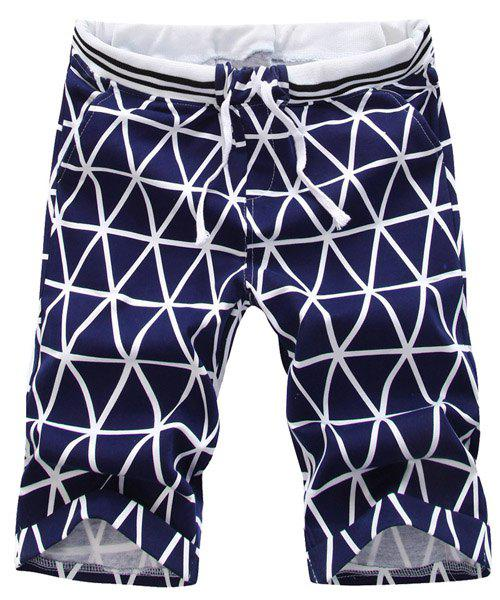 Casual Lace-Up Argyle Print Color Block Men's Straight Leg Shorts