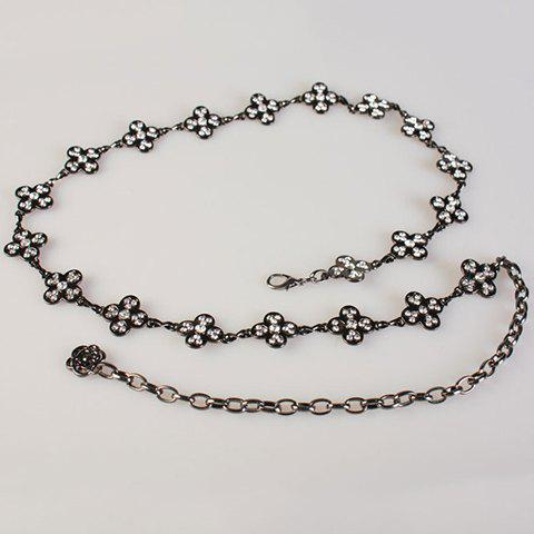 Fashionable Rhinestones Decorated Flowers Pattern Alloy Waist Chain For Women -  BLACK