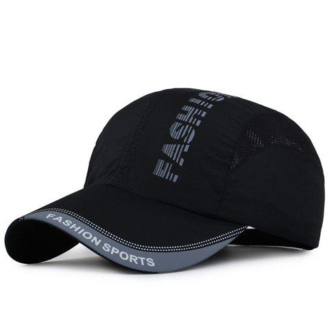 Fashion Striped Letters Pattern Breathable Mesh Sport Baseball Cap - BLACK
