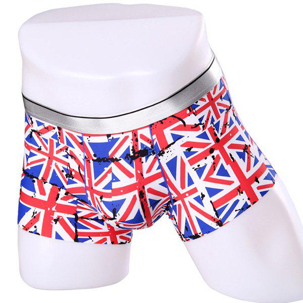 Elastic Waist Union Jack Pattern Comfortable Men's Boxer Brief - L COLORMIX
