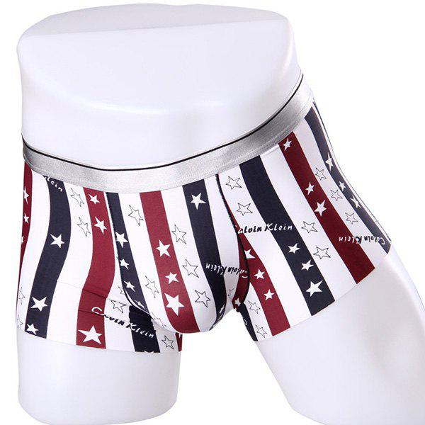 Elastic Waist Stripe and Stars Pattern Comfortable Boxer Brief For Men