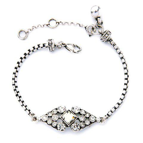 Trendy Faux Crystal Geometric Bracelet For Women - SILVER WHITE