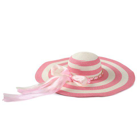 Chic Double Bow Lace-Up and Chain Embellished Women's Striped Straw Hat - PINK