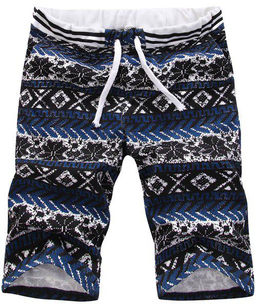 Casual Straight Leg Tribal Print Men's Lace-Up Shorts - COLORMIX M