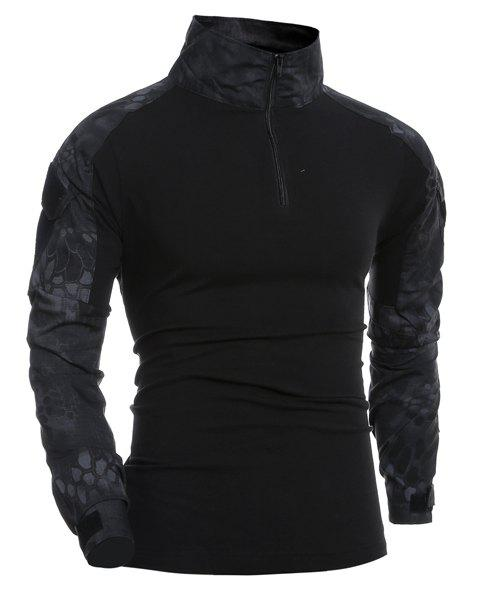 Outdoor Pullover Half Zip Long Sleeves T-Shirt For Men - BLACK M