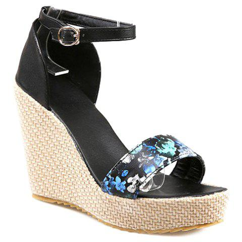 Trendy Floral Print and Platform Design Women's Sandals - BLUE 35