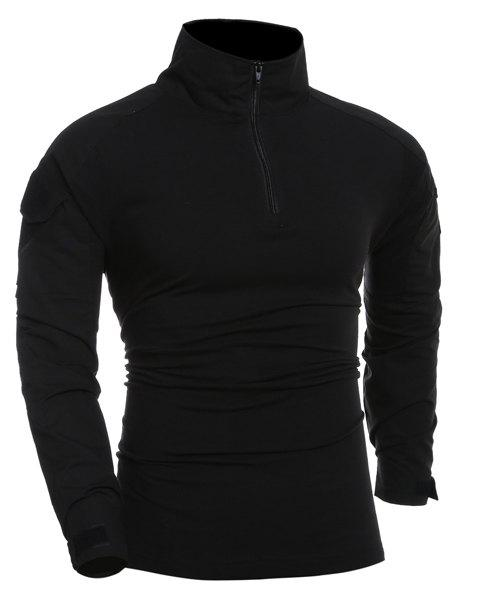 Outdoor Half Zip Pullover Solid Color T-Shirt For Men - BLACK S